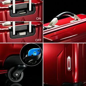 手元の操作で簡単に止まる便利な「キャスターストッパー」。指への負担を最小限に抑えた「エルゴノミックハンドル」。衝撃吸収性と防振効果を発揮する「αGEL(R)をキャスター部分に採用。軽量、耐久性を極めた「ポリカーボネートハイブリッド樹脂」を使用したボディ