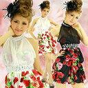バルーンミニドレス 鮮やかバラ柄サテンビジューシフォンバルーンミニドレス 小悪魔ドレス 小悪魔ageha あす楽 レディース