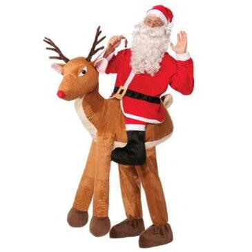 サンタ コスプレ 大人 おもしろい コスチューム トナカイに乗ったサンタクロースの衣装 あす楽