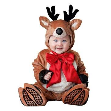 0ff703422842e クリスマス コスプレ トナカイ コスチューム 赤ちゃん 幼児 ベビー 服 着ぐるみ 衣装 動物 わんぱくなトナカイのコスチューム