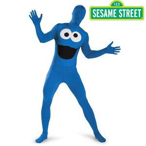 セサミストリートクッキーモンスターボディスーツ全身タイツ男性用ハロウィンコスプレコスチューム衣装