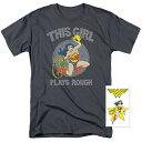 ワンダーウーマン Tシャツ Plays Rough グレー ステッカー付 大人 女性 レディース DCコミックス ヒーロー キャラクター ファッション アパレル グッズ