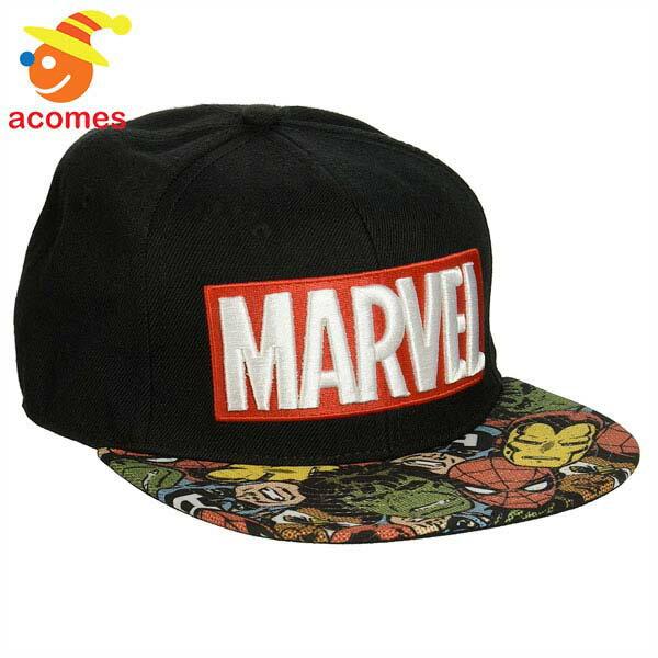 アメコミ ヒーロー 帽子 マーベル 野球帽 ハーフトーン ブラック キャップ スナップバック 日よけ