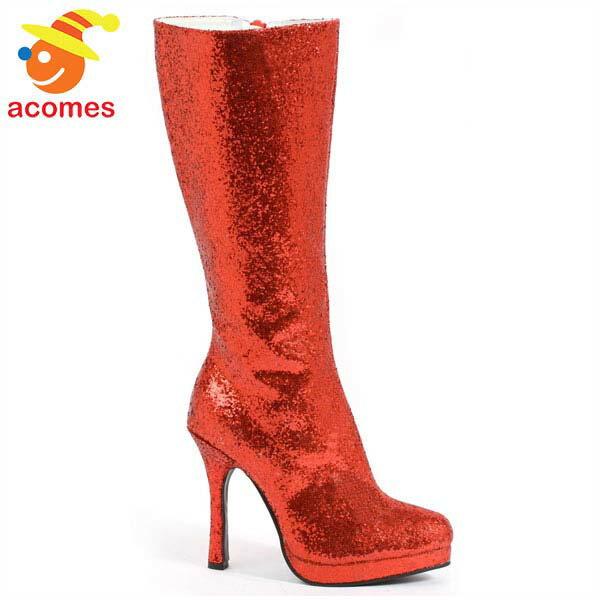 ブーツ キラキラ レッド 大人 コスプレ ワンダーウーマン ハロウィン 赤 靴 ステージ 舞台 イベント パーティー画像