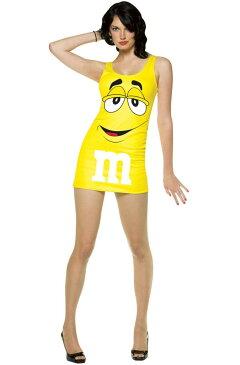 M&M'S エムアンドエムズ コスチューム タンクトップ ワンピース ドレス ミニ 黄色 レディース セクシー コスプレ 仮装 食べ物 チョコ