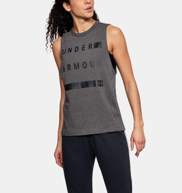 アンダーアーマー レディース タンクトップ Linear Wordmark Muscle Under Armour ヨガ ダンス トレーニング エクササイズ 運動 スポーツ グッズ