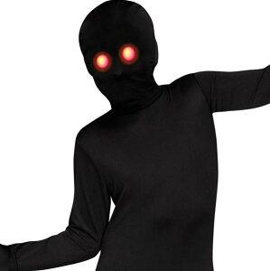 目が光る黒い悪魔子供用全身タイツハロウィンパ−ティーコスプレ黒い人犯人