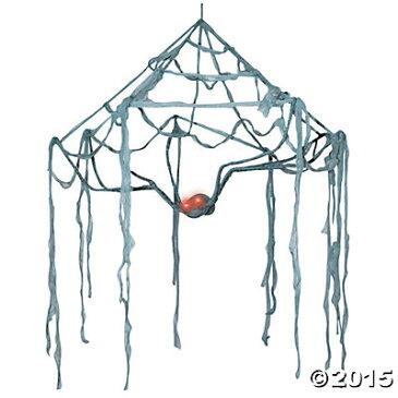 くも 蜘蛛の巣 人形 置き物 ハロウィン デコレーション 飾り 装飾 オーナメント 目が光るクモ
