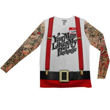 クリスマス サンタクロース タトゥー 刺青 長袖 Tシャツ 大人用 ハロウィン コスプレ コスチューム 衣装 グッズ