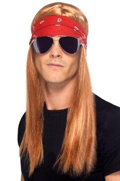 ガンズ・アンド・ローゼズ 90年代 ロックスター コスプレ ウィッグ 大人用 かつら 赤褐色 金髪 ロング バンダナ バンド ステージ