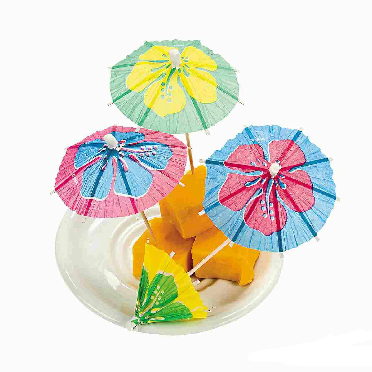 カクテルピック ハイビスカス 模様 ピック トロピカル ドリンク 飾り 楊枝傘 花 144本 飲み物 デザート
