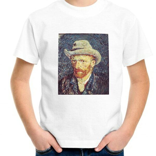 帽子をかぶったゴッホの自画像柄プリントTシャツ親子でお揃いコーデが出来るTシャツ ペアルック/キッズ服/ジュニア服/メンズ/レデ