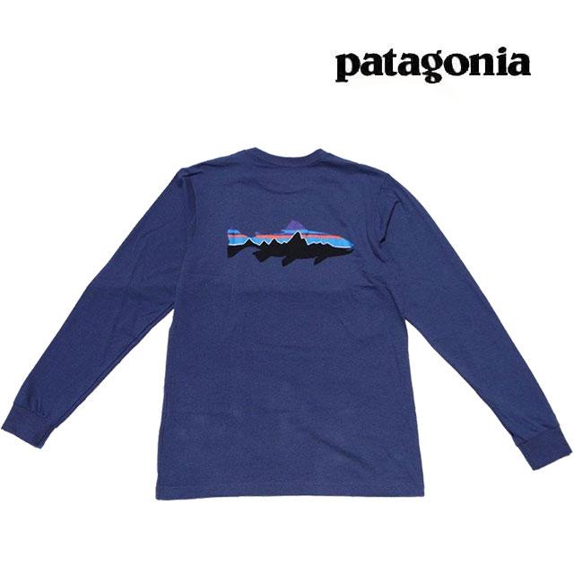 トップス, Tシャツ・カットソー PATAGONIA T LONG-SLEEVED FITZ ROY TROUT RESPONSIBILI-TEE DLMB DOLOMITE BLUE 39160