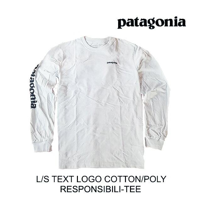 トップス, Tシャツ・カットソー PATAGONIA T LONG-SLEEVED TEXT LOGO RESPONSIBILI-TEE WHST WHITE WSTONE BLUE 39042