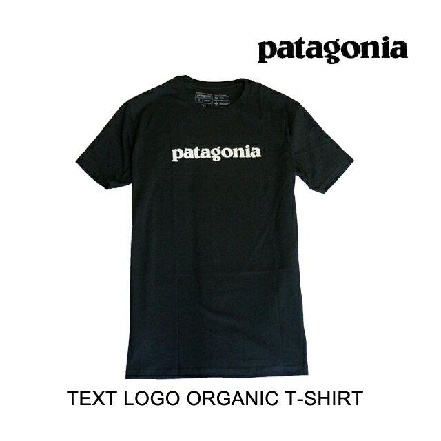 トップス, Tシャツ・カットソー PATAGONIA T TEXT LOGO ORGANIC T-SHIRT BLK BLACK