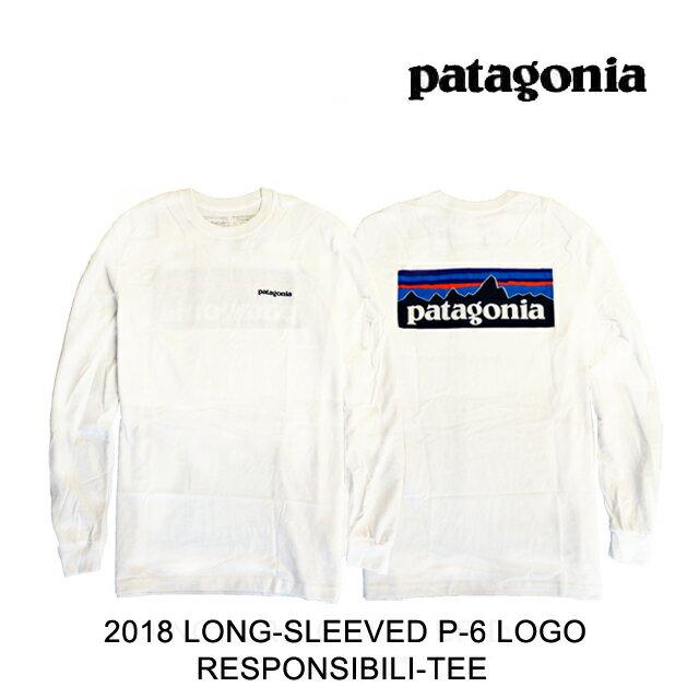 トップス, Tシャツ・カットソー PATAGONIA P-6 T LONG-SLEEVED P-6 LOGO RESPONSIBILI-TEE WHI WHITE 39161