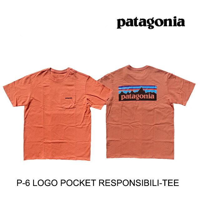 トップス, Tシャツ・カットソー PATAGONIA P-6 T P-6 LOGO POCKET RESPONSIBILI-TEE MEMN MELLOW MELON 38512