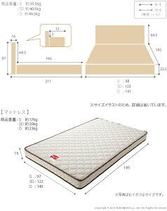 ライト・棚付きベッド〔グラディス〕収納なしシングルマルチラススーパースプリングマットレスセット