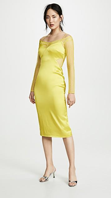 Pencil Dress with Long Sleeve Lace Underlay レディース