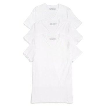 ノードストローム NORDSTROM MENS SHOP パジャマ・トップのみ 3-Pack Stretch Cotton V-Neck T-Shirt White