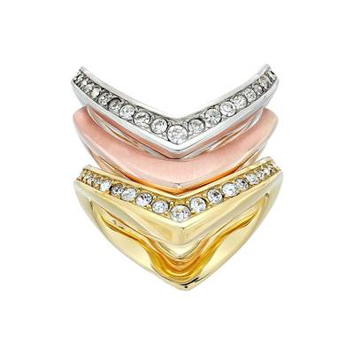 6f60a579d8b3 マイケル コース 指輪·リング Tone and Crystal Stacked Ring Set Multi Michael Kors/マイケル  コース/指輪·リング