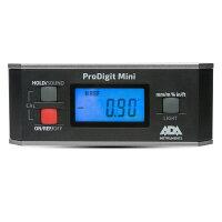 加速度センサー搭載デジタル水平器 プロデジミニ(専用プラケース付き)計測機/測定器 0.05°表示 IP65 高精度 アングルメーター °/%/mm/m切替 磁石付き アルミ枠 比較モード 照明付き 0セット ホールド 送料無料