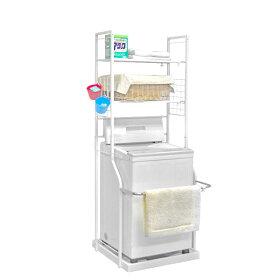 白ホワイト棚稼働横幅伸縮使い勝手のいい伸縮ランドリーラック洗濯機ラック物置