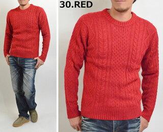 ニットセーターケーブル編みメンズ厚手フィッシャーマンセーターざっくりニットアランケーブルニットクルーニット(MEN'SKNITSWEATER黒白赤ブルー)P16Sep1510P23Sep15