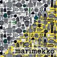 《1.5mまでメール便送料無料》マリメッコ MARIMEKKO 生地 プータルフリン パルハート PUUTARHURIN PARHAAT 【ブラック・イエロー】 選べる2色 (30cm以上〜10cm単位で切り売り)
