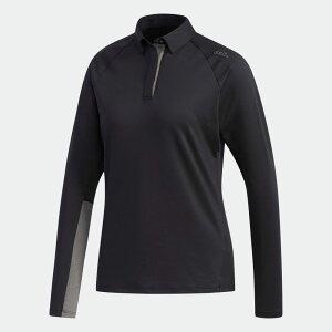 【公式】アディダス adidas ゴルフ クライマウォーム コントラストスリーブ 長袖ポロ【ゴルフ】 / Performance LS Polo レディース ウェア トップス ポロシャツ 黒 ブラック EJ7363