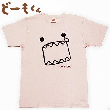 どーもくん 半袖Tシャツ LIFE IS DOMO カオ/ナミダ ライトピンク メンズ レディース Domo-kun キャラクター ウェア トップス 【RCP】