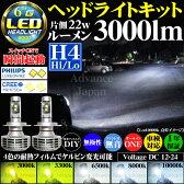 H4 Hi/Lo 切り替え LED ヘッドライト キット PHILIPS CREE 22w 3000k 3300k 6500k 8000k 10000k 変光フィルム 3000lm ルーメン 車検対応 1年保証 リレーレス ファンレス 無音 無極性 バルブ フィリップス クリー