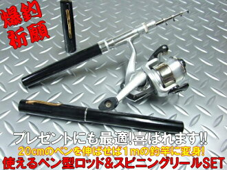 Usable 1m pen type rod & spinning reel set