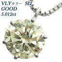 【ポイント5倍】ダイヤモンド ネックレス 5.012ct SI2-VERY LIGHT YELLOW-GOOD Pt 一粒 5ct 5カラット プラチナ Pt900 6本爪 ダイヤモンドペンダント イエローダイヤ yellow ダイヤモンド ダイヤ イエロー あす楽