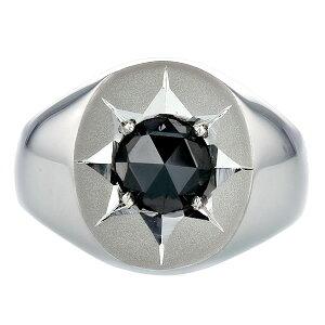 ブラックダイヤモンド印台メンズリングPE900