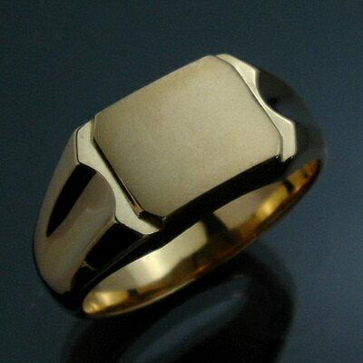 メンズリング 印台(J-6A) - K18 18金 イエローゴールド 指輪 メンズ mens 男性 リング ring mensri...