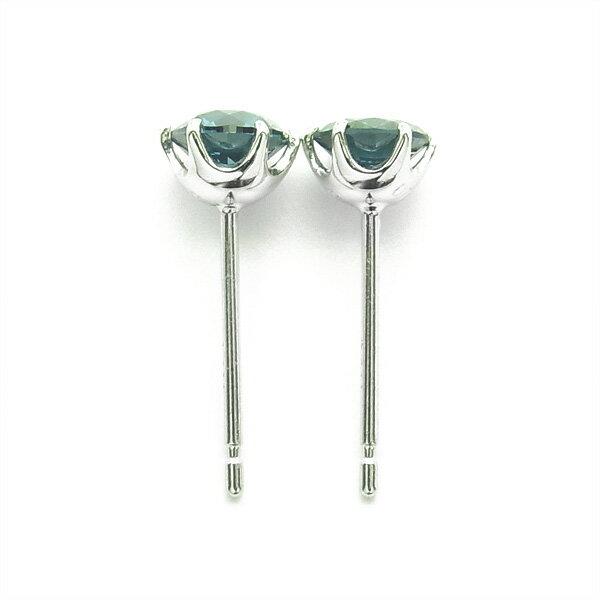 ブルーダイヤモンド ピアス 1.0ct~(Total) VS1~SI2-FANCY DEEP GREEN BLUE-ラウンドブリリアントカット Pt ダイヤモンドピアス 1ct ブルーダイヤ 一粒 プラチナ ダイアモンドピアス ダイアモンド ダイヤピアス ダイヤ ソリティア