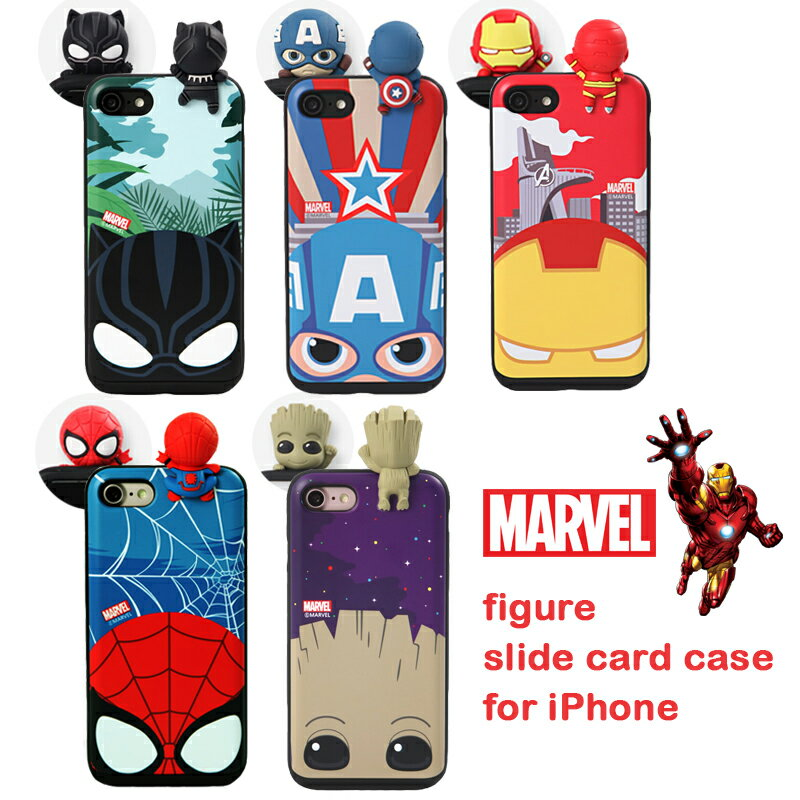 スマートフォン・携帯電話アクセサリー, ケース・カバー MARVEL Figure Slide Card iPhone 3D iPhoneX iPhone8 iPhone7 iPhone6 7 8 X