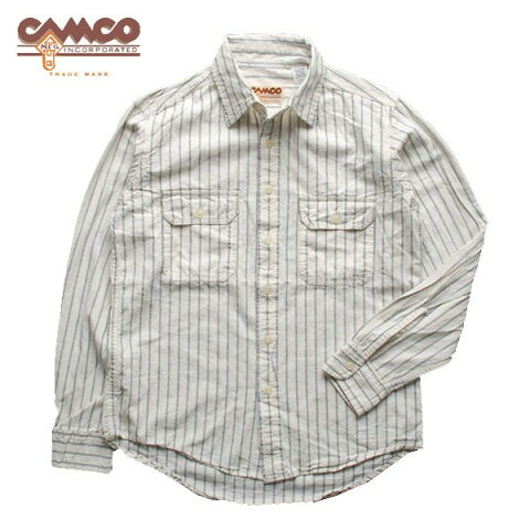 カムコ シャンブレー ワーク シャツ 長袖 ホワイト 白 ブルーストライプ (即納 送料無料)Camco L/S Chambray Work Shirts