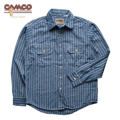 カムコ シャンブレー ワーク シャツ 長袖 ブルー ホワイトストライプ (即納 送料無料)Camco L/S Chambray Work Shirts