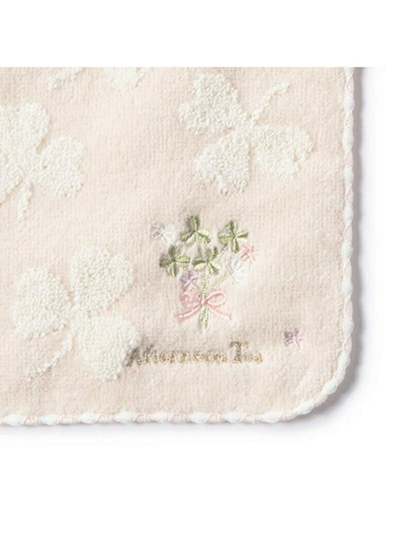 DW85_クローバー刺繍ミニタオル_アイボリー