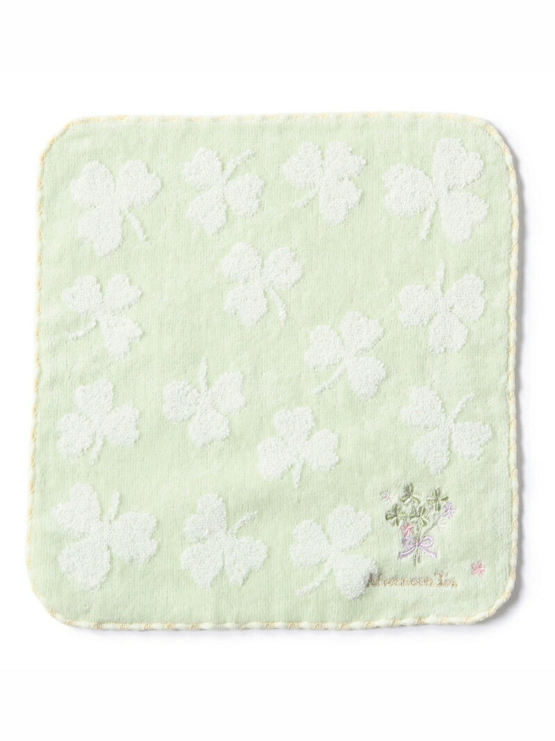 DW85_クローバー刺繍ミニタオル_ライトグリーン