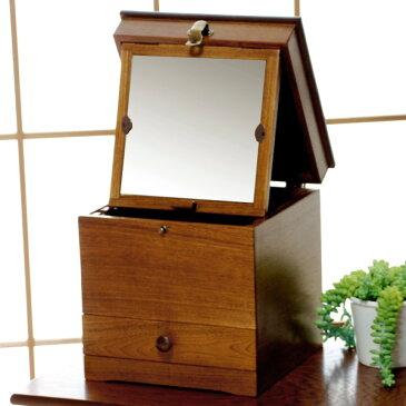 化粧箱 日本製 天然木 おしゃれ メーキャップミラー付きメイクボックス BOX 鏡 コスメボックス M2332 【送料無料】