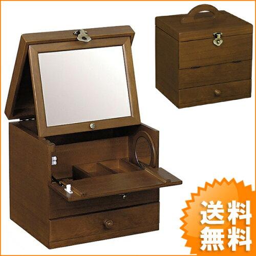 日本製でお洒落な木製コスメティックボックス 一面鏡コスメボックス 化粧箱 鏡台 G-18...