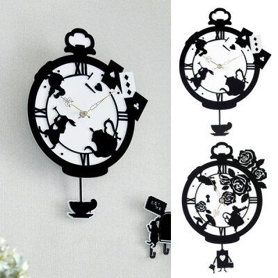 シルエットに不思議の国のアリスを模ったお洒落な振り子時計壁掛け時計/掛け時計/振り子時計/ウ...