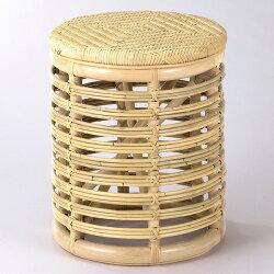 【送料無料】天然の素材を使用しアジロ編みを施したお洒落なスツールラタンスツール籐椅子籐スツールS-34D