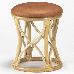 【送料無料】天然の素材とレザーを使用したお洒落なラタンスツールラタンスツール籐椅子ラタンチェアS-11-3N