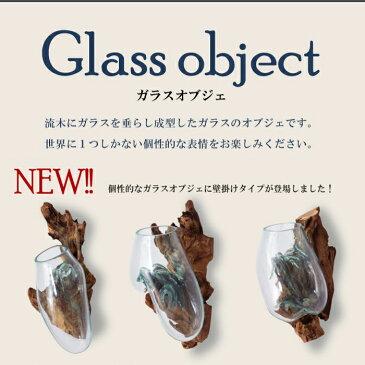 世界に一つだけのガラスオブジェ 壁掛け グラスオブジェ TTZ-312 手作り 流木 植木鉢 プランター アクアリウム 水槽 金魚鉢 サボテン 観葉植物 スタンド ガラス やすとも どこいこ おしゃれ インテリア 家具 新生活 一人暮らし