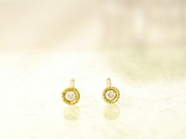 K18 ゴールド ダイヤモンド トータル0.02ct ピアス H〜Fカラー/SIクラス「Classico petit - クラシ...