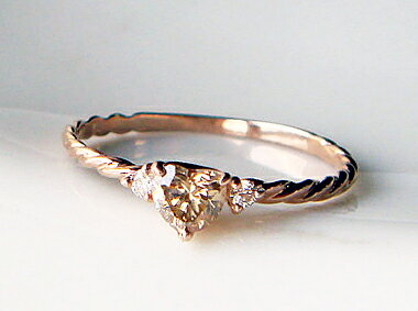 K18 ゴールド ハート ブラウンダイヤモンド リング 「CORDA AVANA -コルダ アヴァーナ- 」甘さを抑...
